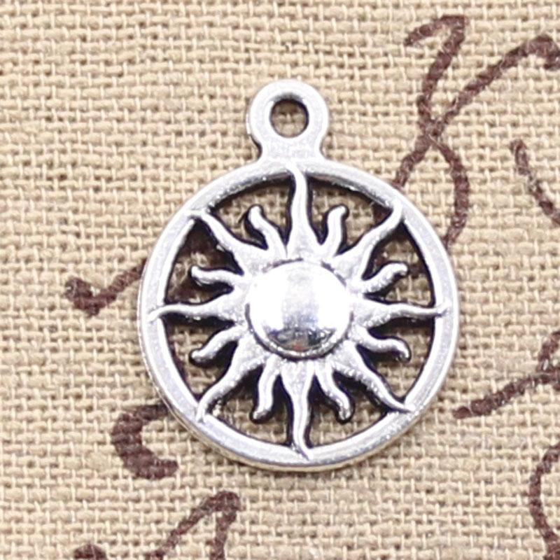 120pcs Charms sol 16 mm Antique Making colgante en forma, plata tibetana de la vendimia, collar pulsera DIY