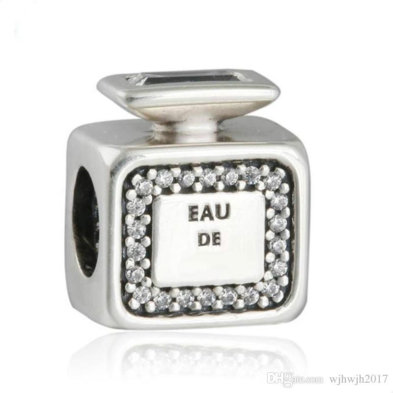Novas autêntica prata esterlina 925 encantos assinatura Perfume garrafa de perfume Beads Pave Crystal Clear Para Pulseira DIY Jóias tomada Belas