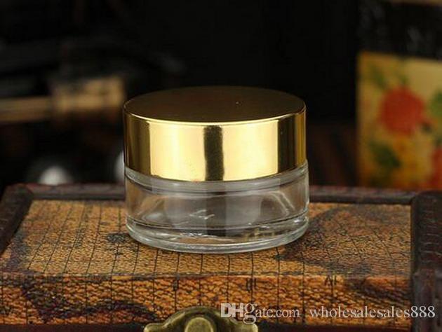 Krem Şişe, 20g Doldurulabilir Şeffaf (Buzlu) Cam Kozmetik Krem Kavanoz Pot Şişe Konteyner Altın (Gümüş veya Siyah) DHL Tarafından 100 Adet / grup Caps