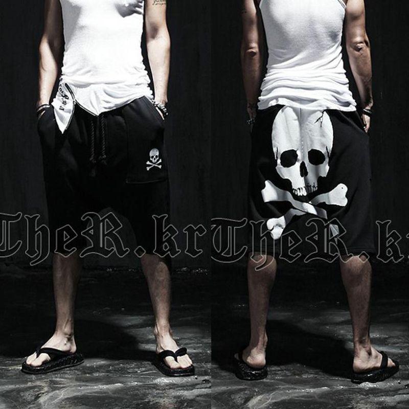 Toptan Satış - Yeni 2016 yaz kafatası erkek Buzağı Uzunlukta baskılı pantolon Erkek ince Hip hop Kısa Pantolon Orta pantolon Aktif rahat Gevşek pantolon harem