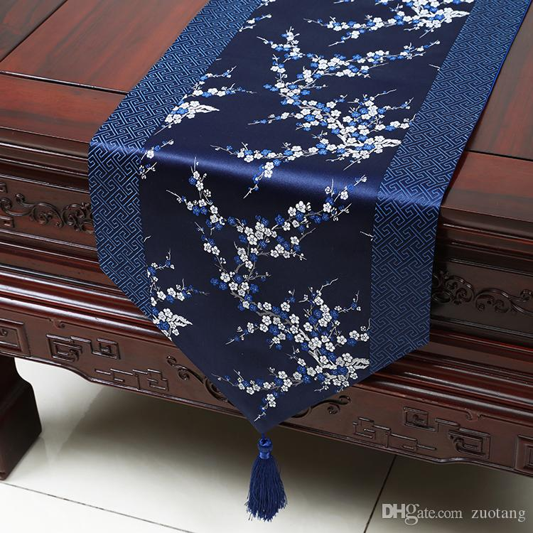 Extra Long Patchwork Luxury Silk Satin Table Runner Cherry blossoms Chinese Party Damask Jacquard Tablecloth Dining Table Mat 300 x 33cm