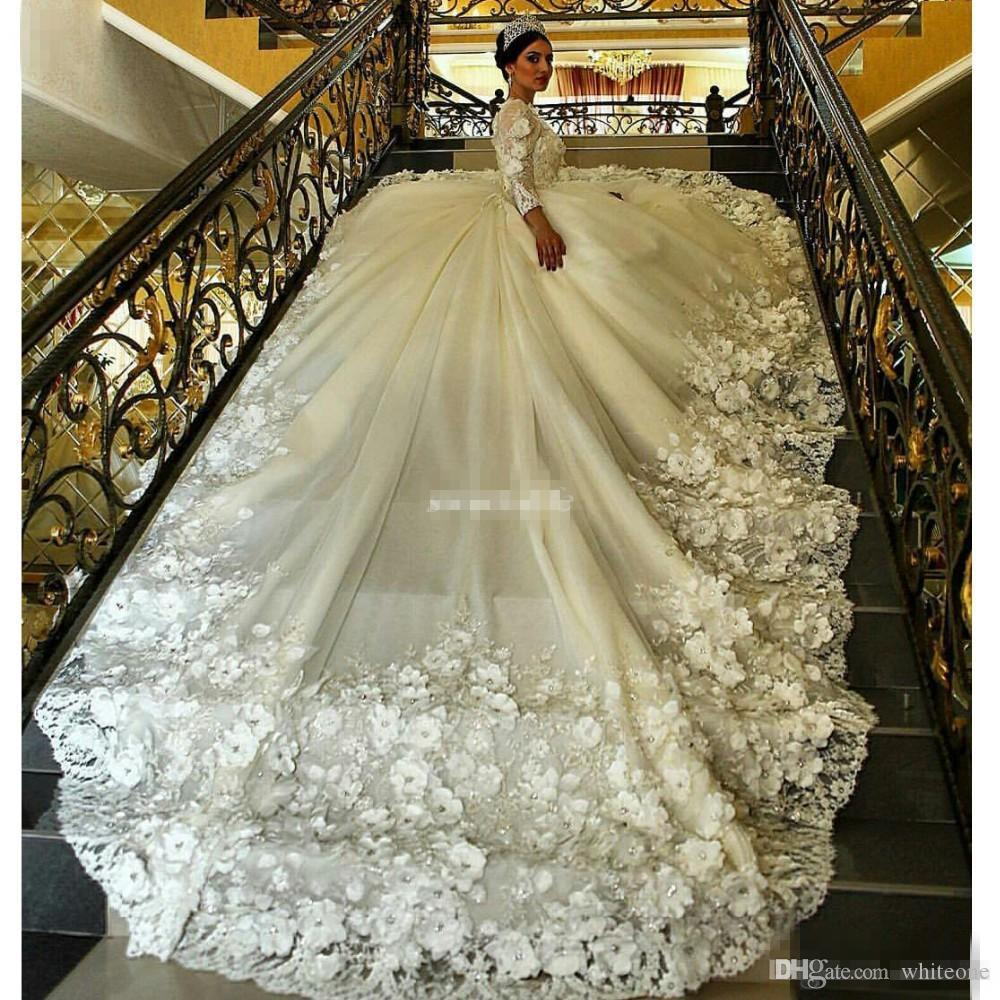 Gorgeous Long Sleeve Ball Gown Wedding Dresses Train Sheer Crew Neck 3D Floral Appliques