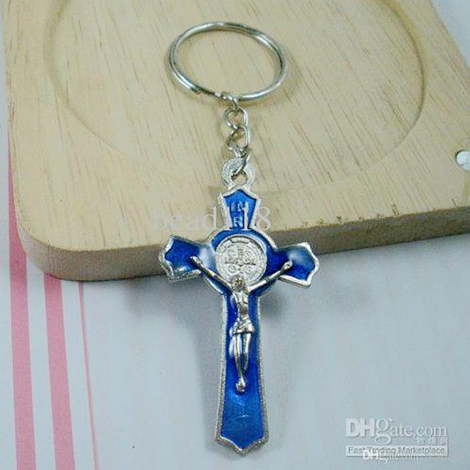 MIC 60Pcs blaue Farbe Emaille Legierung Jesus Christus Kreuz Charme Kette Schlüsselanhänger DIY Schmuck