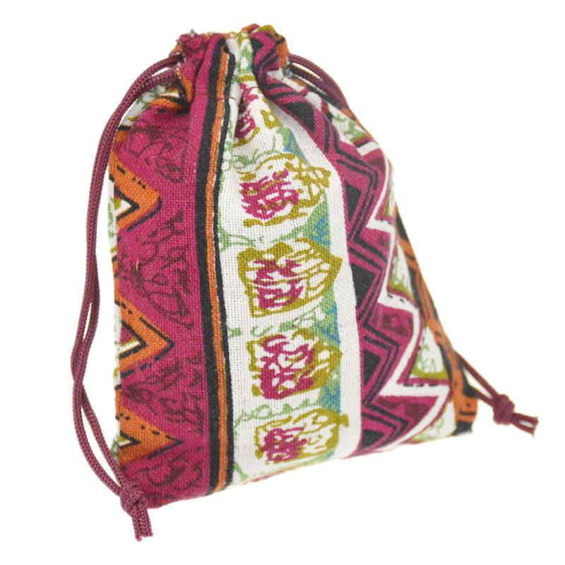 JLB Multicolor Tribal Tribe Drawstring Jewelry Pouches bag Egypt and India Mysterious Style Cotton gift package bag 9.5x11.5cm