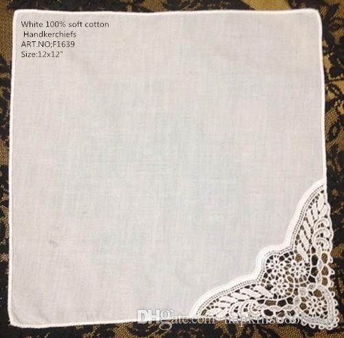 """Textiles para el Hogar Conjunto de 12 España Estilo de boda Pañuelo de novia 12 """"x 12"""" White algodón bordado de encaje de ganchillo pañuelos boda del pañuelo"""