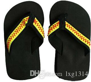 flip flop de softbol amarillo Zapatillas Sandalias Zapatillas de deporte de playa para mujer