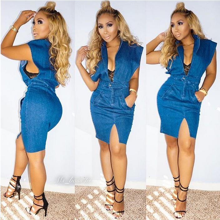 2016 Women Fashion Short Cowboy Sexy Blue Jeans Split Sleeveless Denim  Dress Outfit Sale 526