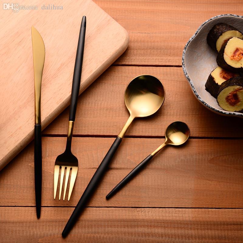 Wholesale-304 Stainless Steel Cutlery Gold Flatware Set Black Tableware Dinnerware 1 Dinner Knife + 1 Spoon + 1 Fork + 1 Spoon