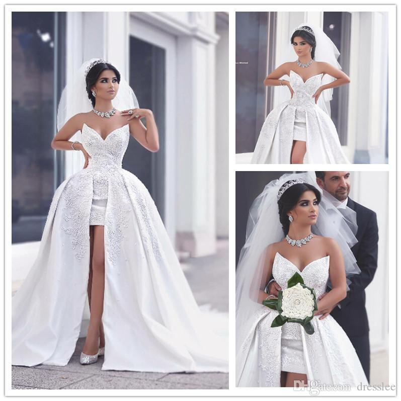 Said Mhamad Short Front Long Back Wedding Dress White Ball Gown Dresses Satin Sweetheart Applique