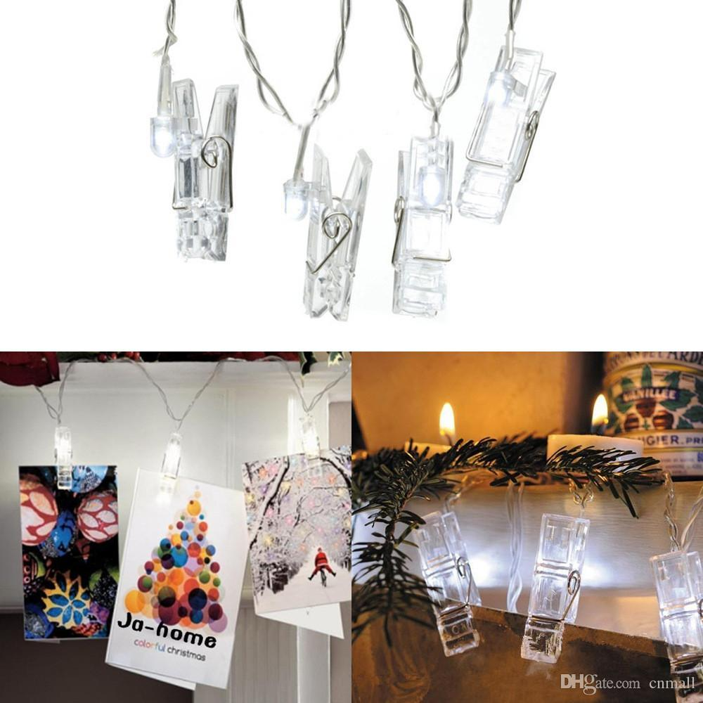 16.4ft Led Photo Clips String Light USB/Battery Powered 5M 20 LED Clips Lights Warm White/RGB Christmas Light Wall Decoration Night Light