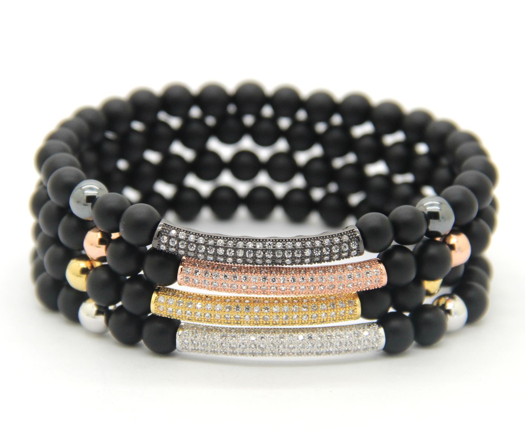 2016 Nouveau Mode Hommes Femmes Bijoux En Gros 6mm Naturel Mat Agate CZ Micro incrusté zircon perles Tube Perlé Stretch Bracelets