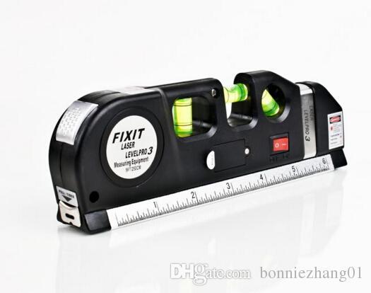 Popular Multipurpose Level Laser Horizon Vertical Measure Tape Aligner Bubbles Ruler 8FT
