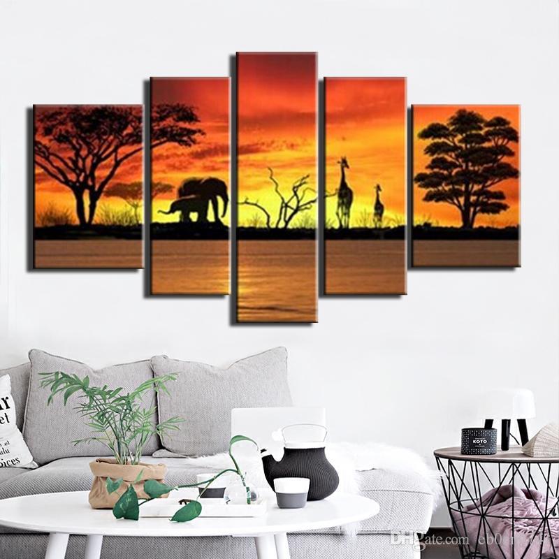 Handgemachte 5 teile / satz Auf Leinwand Kunst Ölgemälde Abstrakte tier Bilder Sonnenaufgang Wandbild Wohnkultur Für Wohnzimmer