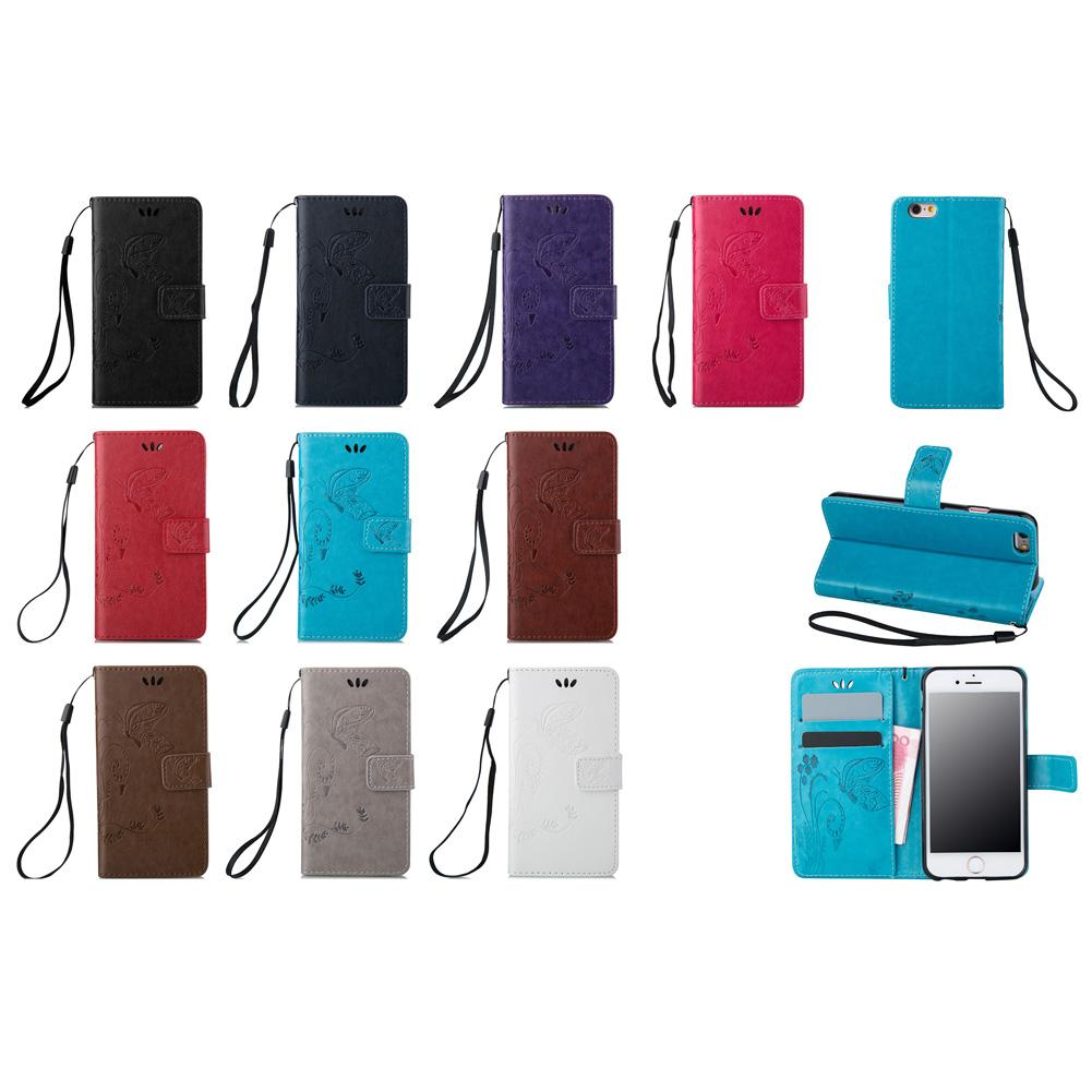 For iPhone 6 4.7 Inch Wallet Cases PU Leather Covers Coining Lucky Four Leaf with Magnetic Flip Buckle Card Slot Hand Srap