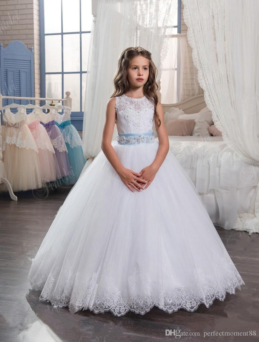 Kids Wedding Dresses 2017 With Tiered Skirt And Beaded Belt ...