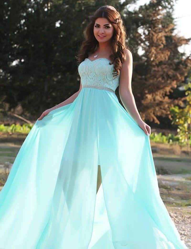 2019 Nova Elegante Verde Menta Vestidos de Noite Querida Lace Chiffon Frisada de Cintura Alta Até O Chão Vestidos de Festa de Comprimento Tamanho Personalizado