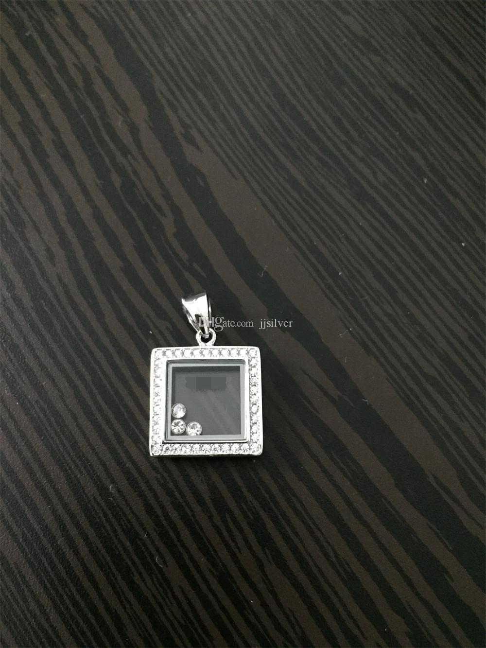 Luxurybrand gerçek 925 Ayar Gümüş Yüksek kalite kristal CZ Diamonds kadınlar için KOLYE kolye mutlu kare elmas klasik KOLYE