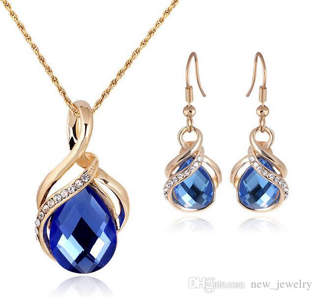 Mode Sapphire + Oostenrijkse Crystal Hollow Statement Sieraden Sets 18K Gold Opal Hanger Ketting Oorbel Set met Swarovski Elements