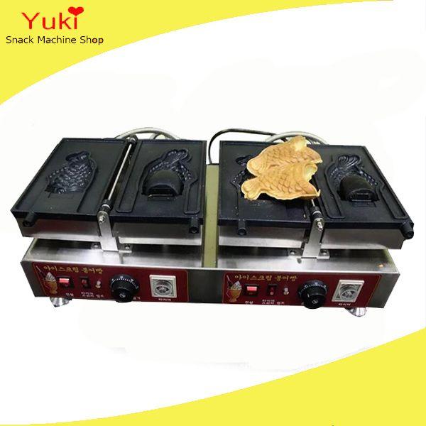 Ticari taiyaki makinesi büyük açık ağız kore balık waffle makinesi dondurma waffle koni makinesi taiyaki pan 110 v 220 v
