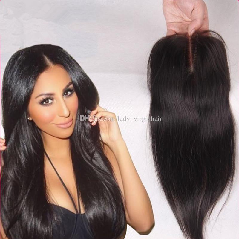 """8A средний свободный 3 трехходовая часть прямое закрытие бразильский человеческих волос кружева верхней части закрытия кусок 4x4 """" отбеленные узлы с волосами ребенка"""