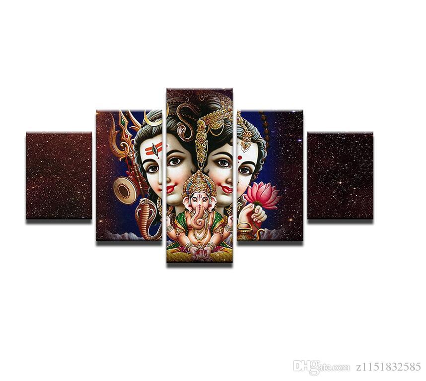 Canvas Wall Decor Modular Pictures 5 Pieces Shiva Parvati Ganesha Paintings Living Room HD Printed Poster PENGDA