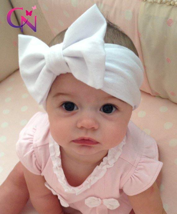 Nouveau mode bébé solide coton cheveux arc bandeau enfant en bas âge Stretch Headwraps avec arc Boutique mignon cheveux accessoires