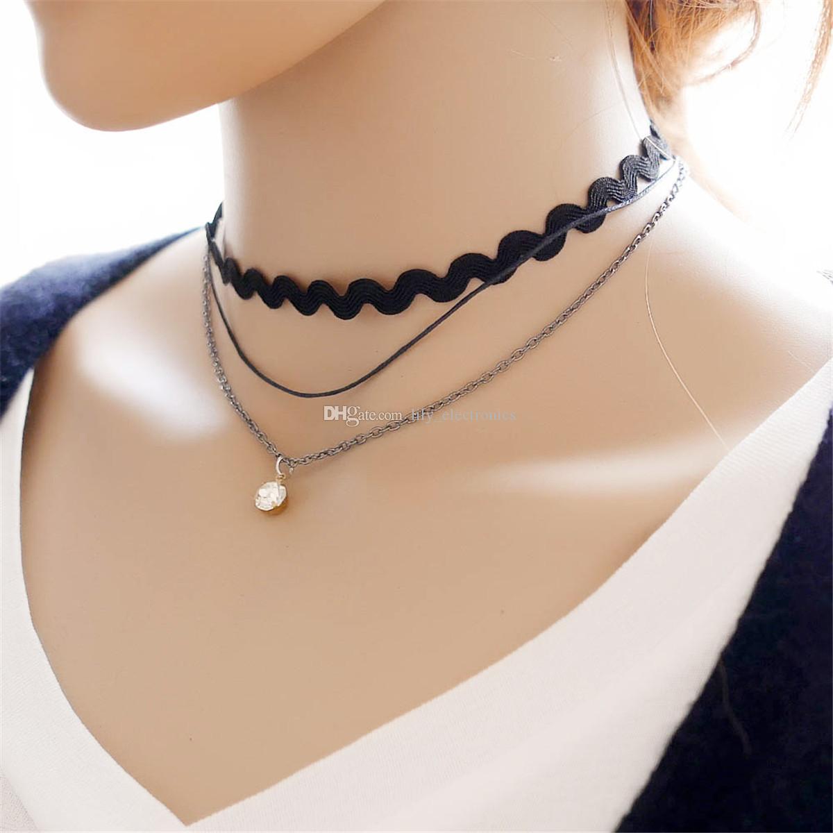 Collar de encaje gótico negro onda collar de aleación de múltiples capas de la corona colgante de cristal de la cadena Joyas para mujeres Pack de 10 piezas