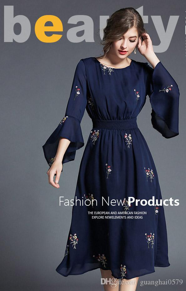 235e404b0de0 2017 Girls And Ladys Fashion Embroidery Flare Sleeve Style Dress,One Colour  Four Size New Trending High Quality Dresses Of Women Canada 2019 From ...