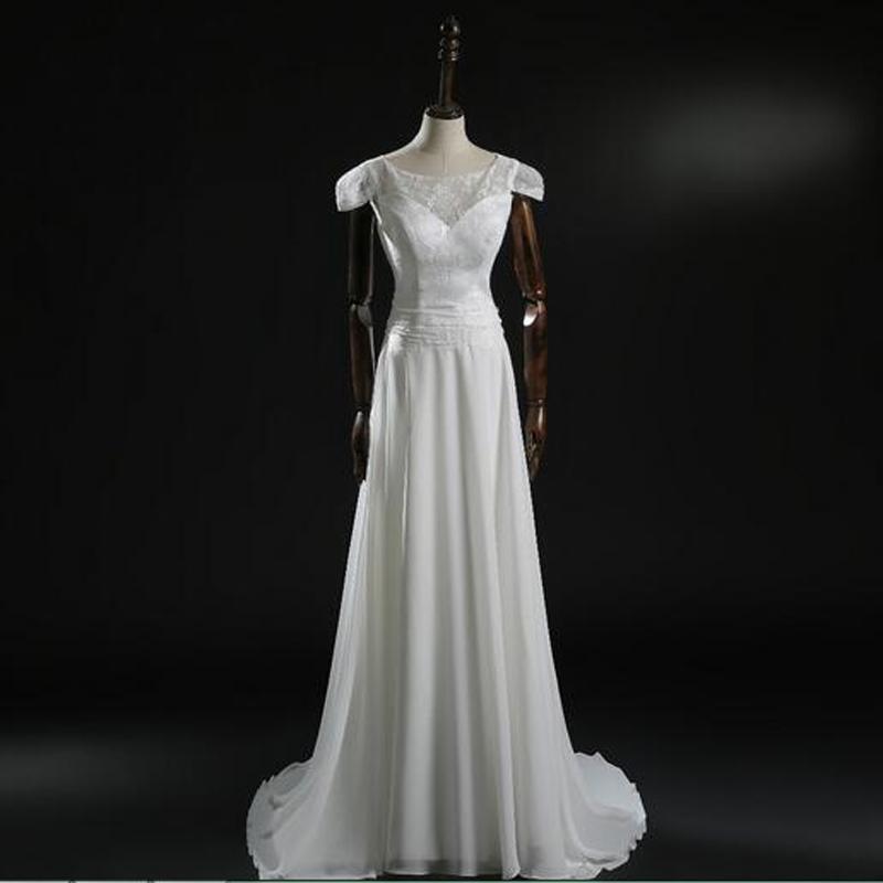최신 반팔 새로운 브랜드 A 라인 시폰 웨딩 드레스 리얼 메이드 맞춤 제작 레이스 신부 가운 섹시한 오픈 뒤로