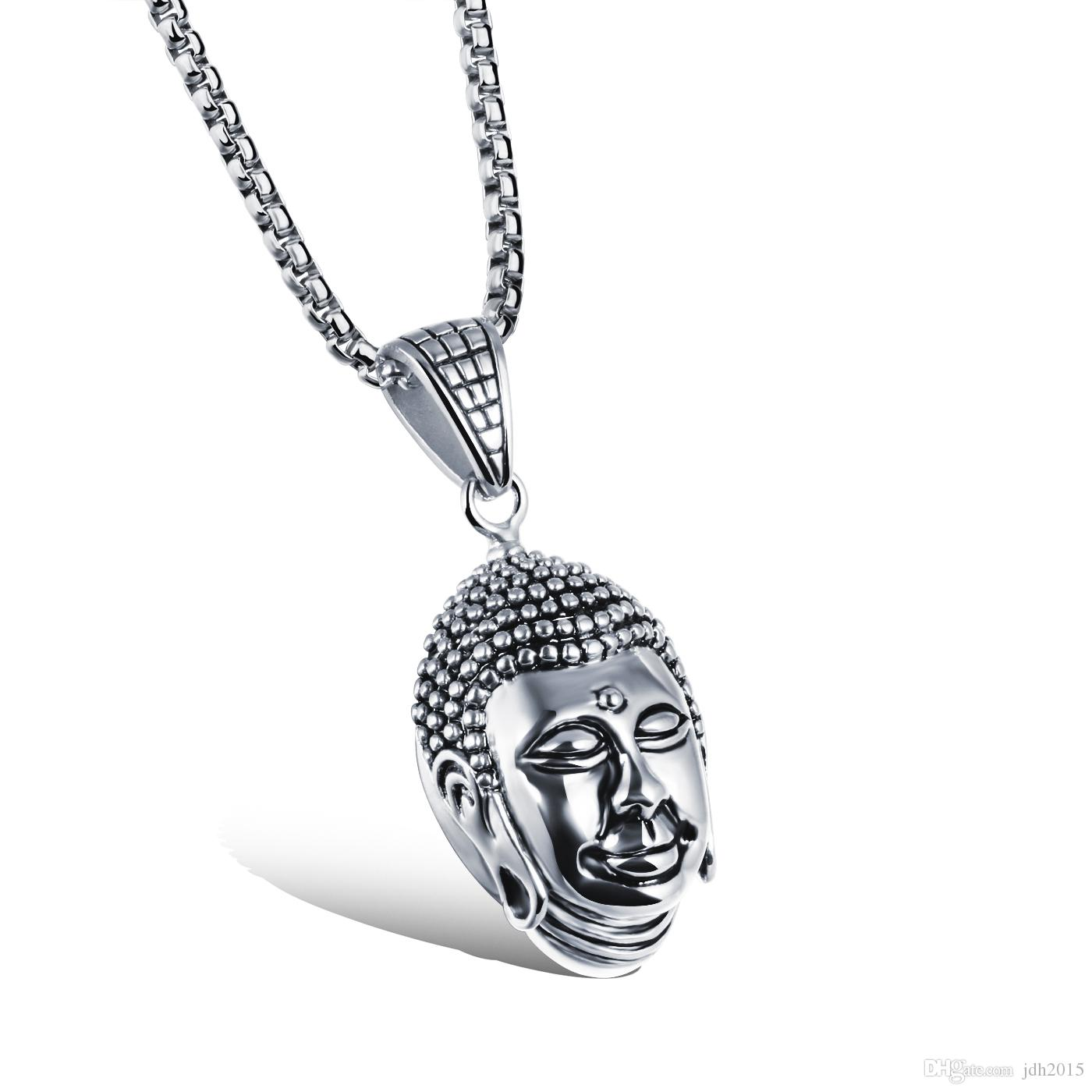 """Stainless Steel Vintage Buddha Sculpture Amulet Buddhism Prayer Pendant Necklace with Box Chain 22"""""""