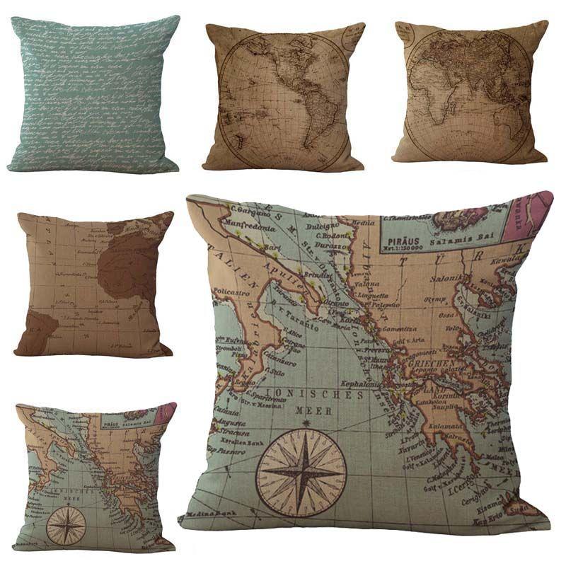 World Map Traveler Pillow Case Cushion cover Linen Cotton Throw Pillowcases Home sofa Bed Car Decorative Pillow covers Drop SHip