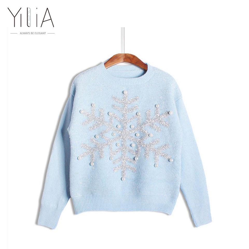 Hurtownie- Boże Narodzenie Snowflake Swetry 2016 Nowe Zimowe Kobiety Swetry Śliczne Cekinowe Frezowanie Różowe Biały Niebieski Dzianiny Nosić Brzydkie Długie Rękaw