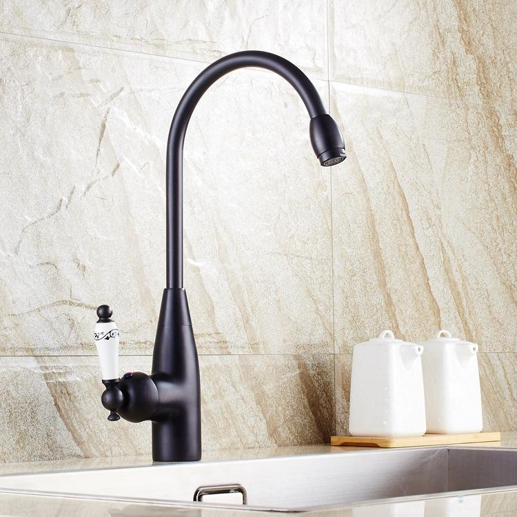 Kitchen Faucets Black Bathroom Faucet For Basin Single Handle Single Cold Tap For Sink Cheap Mixers
