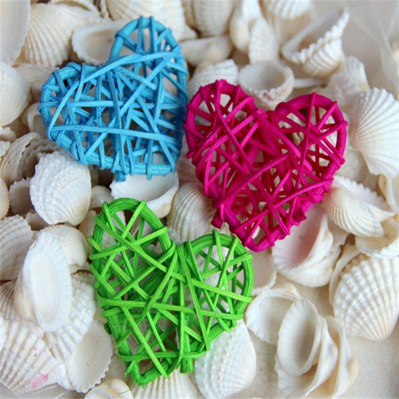 5Pcs/lot Colorful Heart Rattan Wicker Cane Decoration Balls for Home Garden Patio Wedding Birthday Party decoration