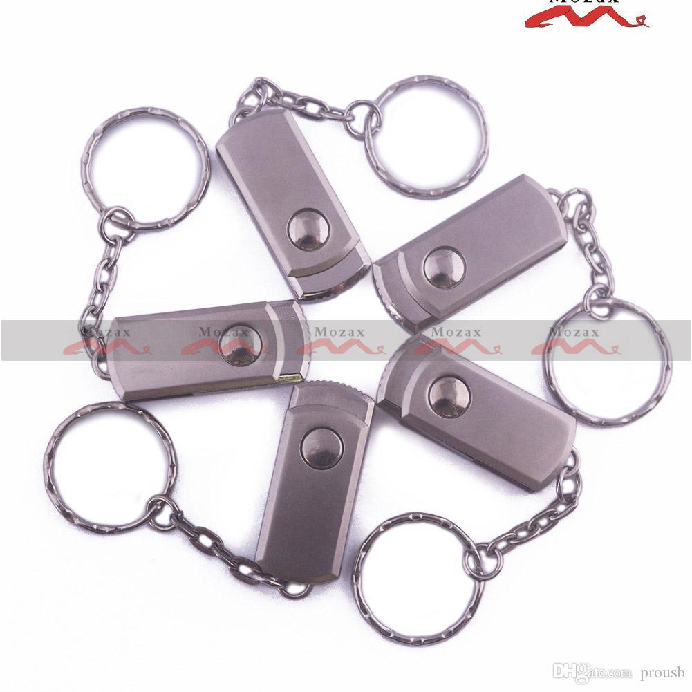 Free Custom Logo Engraving 10PCS 128MB/256MB/512MB/1GB/2GB/4GB/8GB/16GB Swivel Metal USB Flash Drive 2.0 100% True Storage Pendrives Sticks