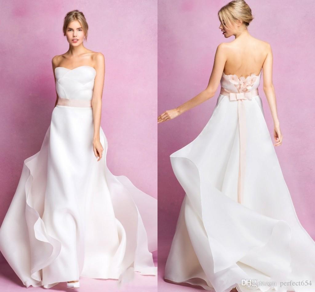 Discount Flower Organza Wedding Dress With Ribbon Trim Strapless ...