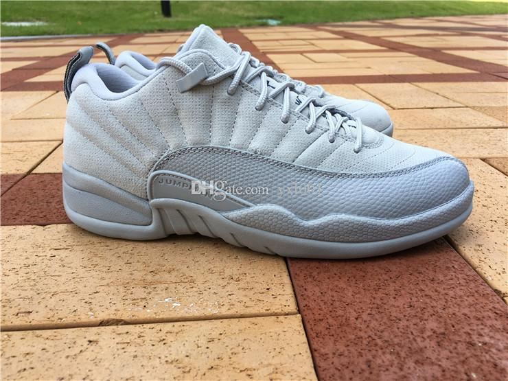 huge sale 1d4ad cff45 Cheap 2016 New Arrival Retro 12 Low White Grey Men'S Basketball Shoes For  Perfect Quality With Real Carbon Fiber Airs 12s Sneakers Size 8 13 Kids ...