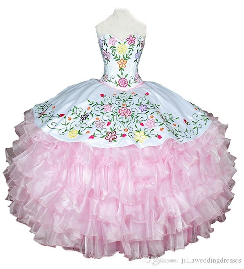 2017 Yeni Seksi Pembe Nakış Balo Quinceanera Elbiseler Katmanlı Organze Artı Boyutu Tatlı 16 Elbise Vestido Debutante Törenlerinde BQ46