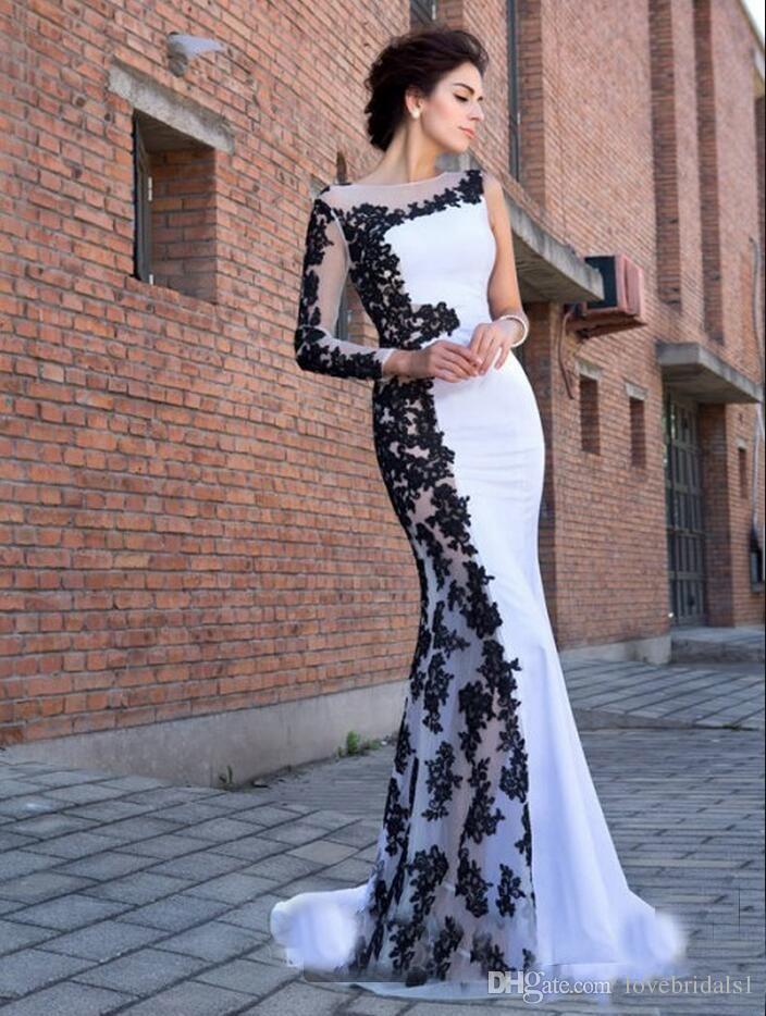 2019 robes de soirée élégantes blanches et noires sirène soirée pure cou à manches longues en dentelle Appliques Formelle robes de bal pour les femmes