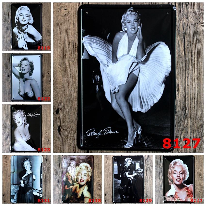 2016 20 * 30 cm classico Marilyn Monroe sogno amante superstar Targa in metallo Coffee Shop Bar Ristorante Decorazione Della Parete di Arte Bar Metallo Dipinti