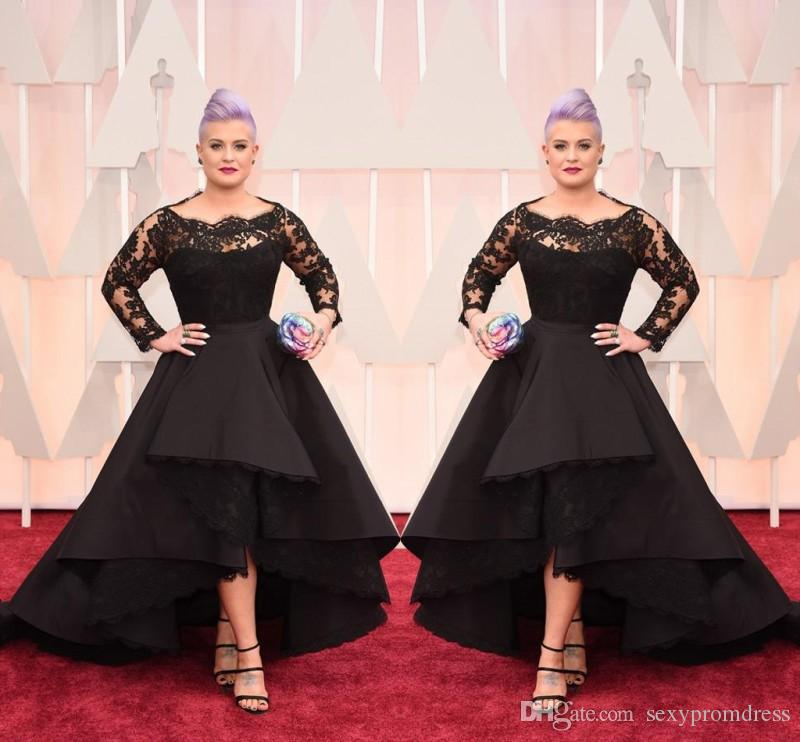 Black Evening Dresses Oscar Hi-Lo Lace Long Sleeve Prom Gown Excellent Taffeta Runway Fashion Show Plus Size Formal Party Evening Dress