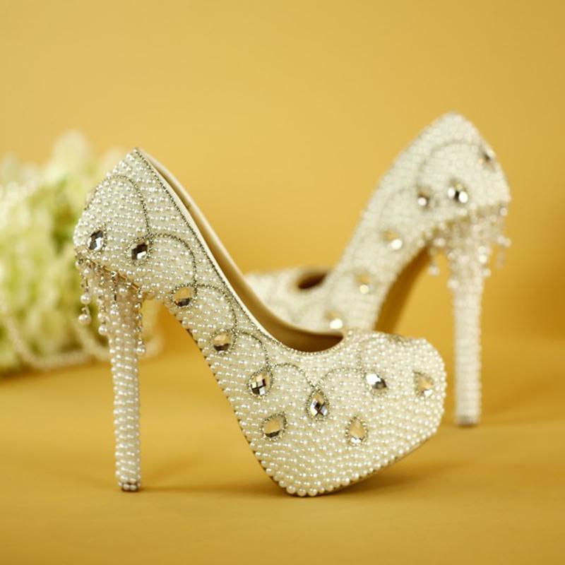 Moda donna Scarpe eleganti primavera Handamde di alta qualità Bianco perla Pompe da sposa Scarpe per la madre della sposa Tacchi alti da sposa