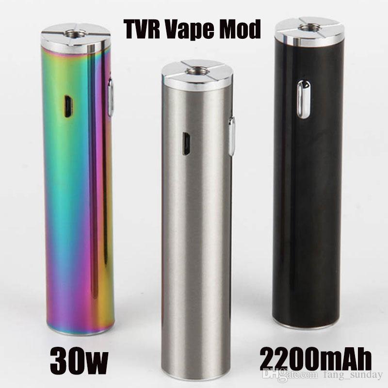 아틀란티스 탱크 분무기를위한 E 담배 CIGS Vape 펜 TVR 30 와트 기계 상자 모 키트 USB 패스 스루 전자 2200mah 배터리