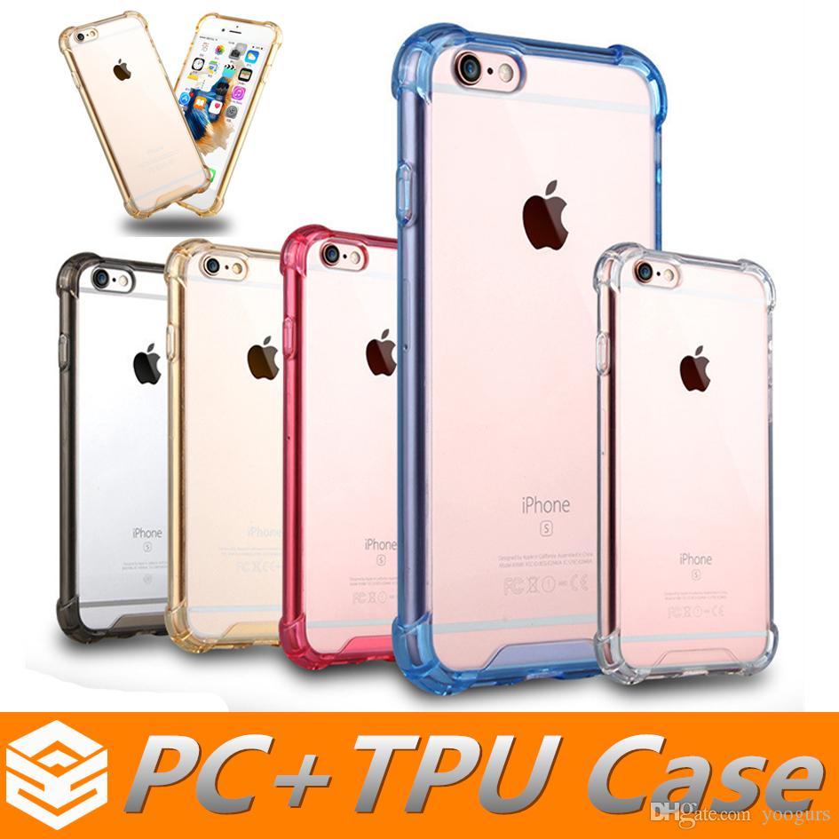 À prova de choque Híbrido Armadura Transparente Transparente TPU + PC de Volta Caso Capa Dura Macio Para iphone 7 6 6 s plus 5 se samsung s7 s7edge note7