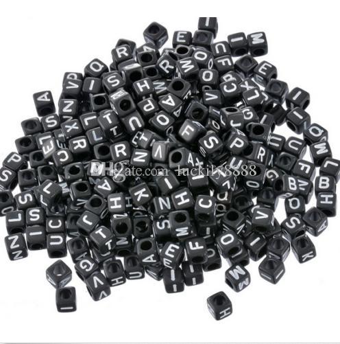 1000шт черный смешанные буквы алфавита плоские круглые акриловые распорку бусины для ювелирных изделий 6 мм