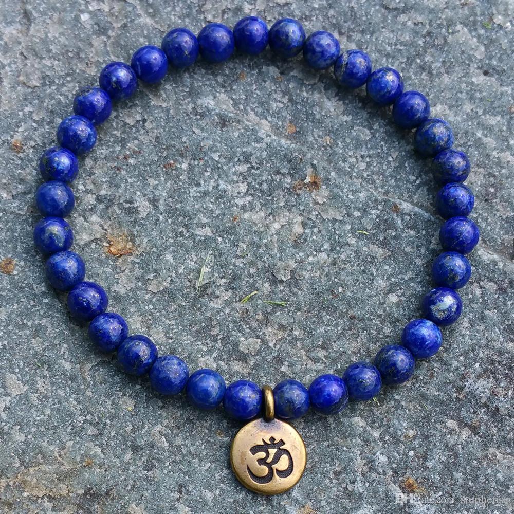 SN1106 Großhandel handgefertigte Perlen Armband 6mm Lapislazuli Naturstein Perlen Antik Messing Ohm Lotus Buddha Bettelarmband