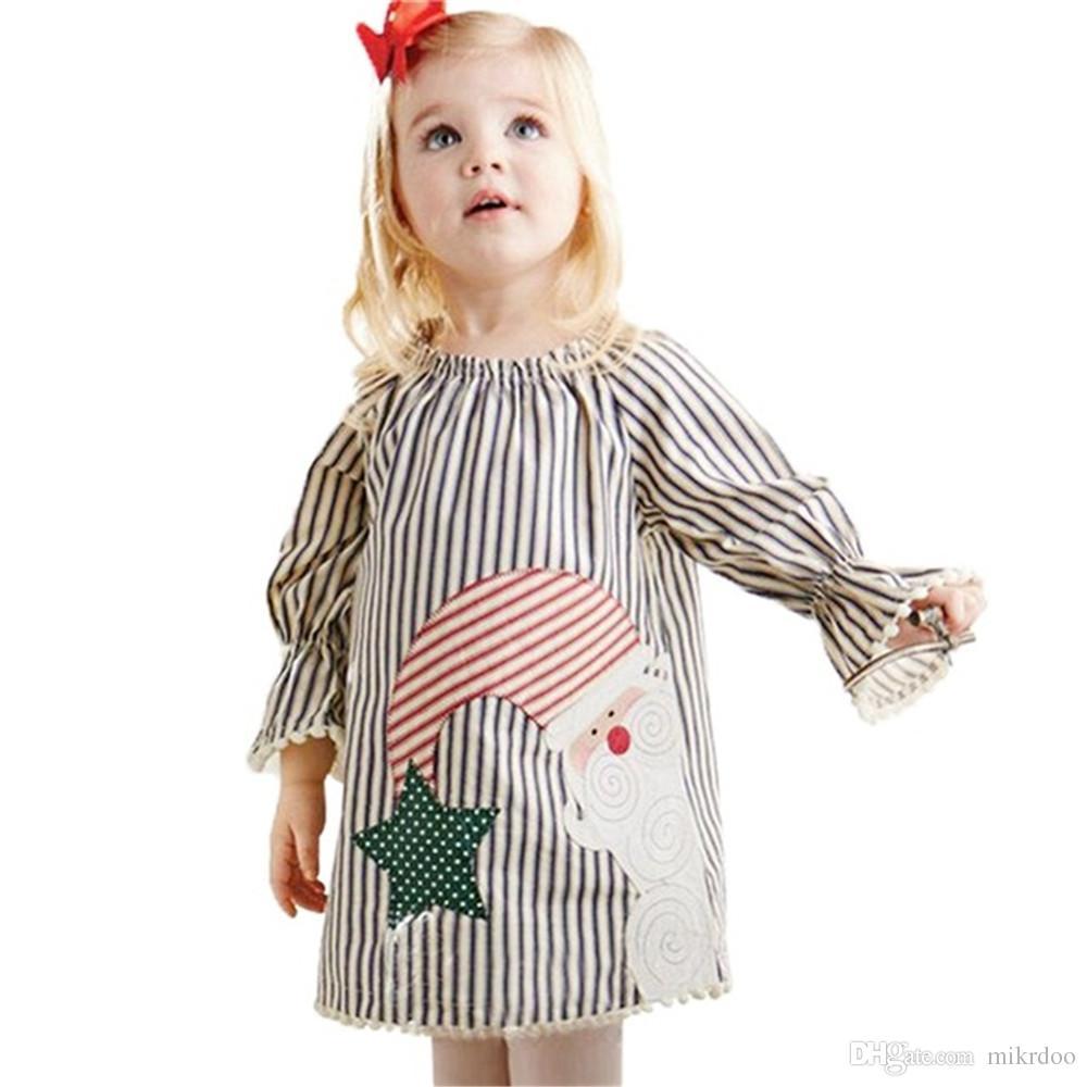 Mikrdoo Hot Baby Christmas Dress Children Princess Girl Birthday Wedding Party Dresses Kids Long Sleeve Striped Cute Snowman Star Vestidos