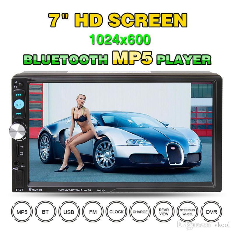 """7 """"Universel 2 Din HD Lecteur DVD De Voiture Écran Tactile Bluetooth USB / TF FM Aux AutoRadio Multimédia Lecteur Support Caméra Vue Arrière"""