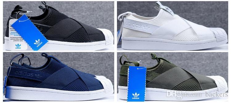 Großhandel Adidas Superstar Original Mesh Elastische Laufschuhe Für Männer Jogging Günstige Originals Sneakers Slip On Black White Größe 40 44 Freies