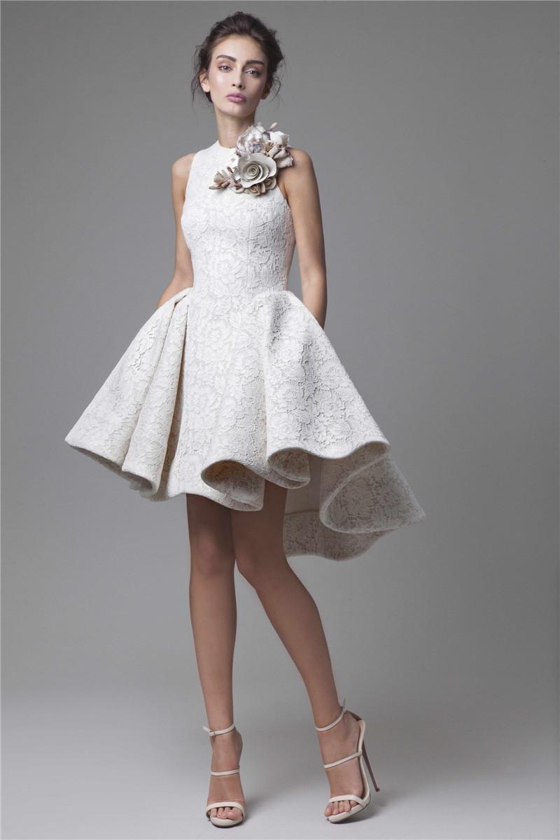 Krikor Jabotian High Low Prom Dresses Jewel Neckline A-Line Flower Appliqued Party Dress Short Lace Evening Gowns